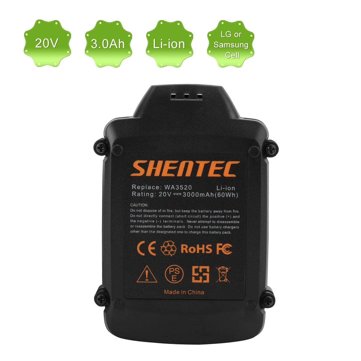 Amazon.com: shentec 3.0 Ah 20 V wa3520 wa3525 – Batería de ...