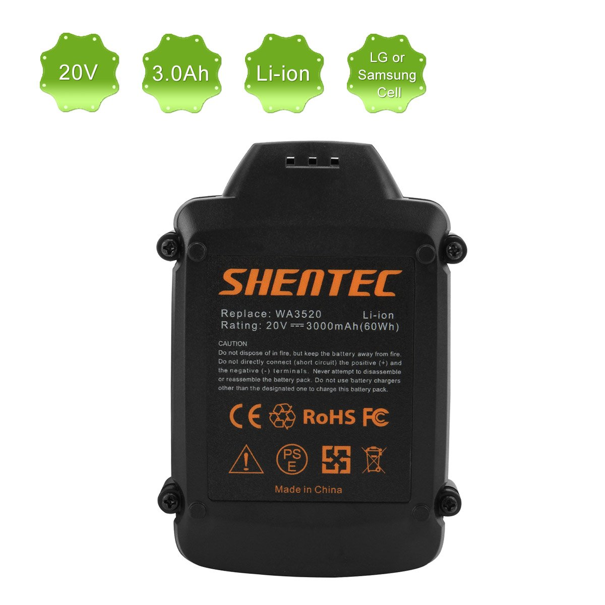 Shentec 3.0Ah 20V Battery for Worx WA3520 Replace for WORX WG151s WG155s WG251s WG540s WG890 WG891, Lithium 20V Worx Battery by Shentec (Image #5)