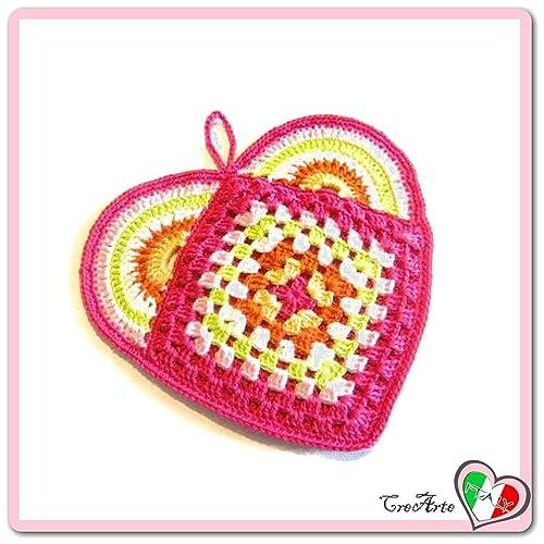 Agarradera fucsia en forma de corazón de ganchillo - Tamaño ...