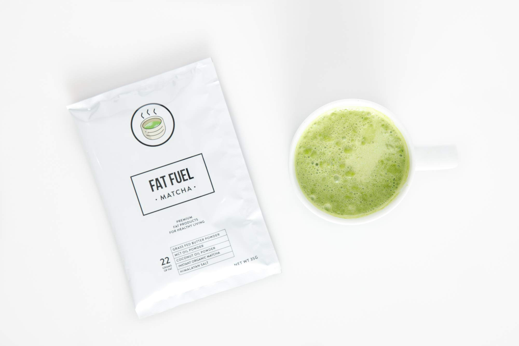 Fat Fuel Company Keto Matcha Green Tea Powder | MCT, Coconut Oil, Himalayan Salt & Grass-Fed Butter | Organic Ingredients | Energy, Focus , Detox | Perfect Drink For Low-Carb Diet | 15 Packets by The Fat Fuel Company (Image #3)