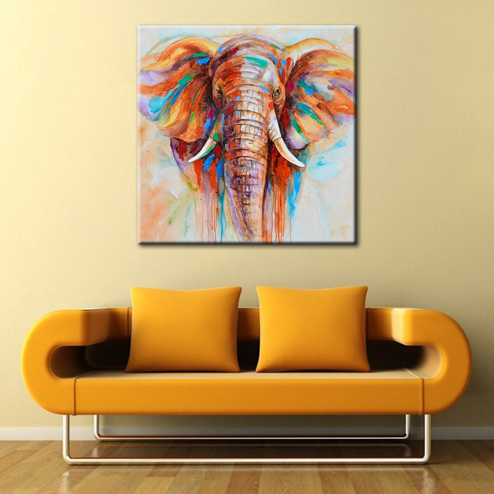 IPLST@ African Elephant Cute Animal Oil Painting Canvas Art Large ...