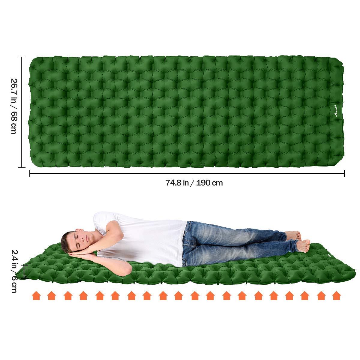 MOVTOTOP Colchoneta Inflable para Acampar con Almohadilla para Dormir con Kit de reparaci/ón Colch/ón de Campamento liviano y Compacto para mochileros Verde Viajes y Caminatas