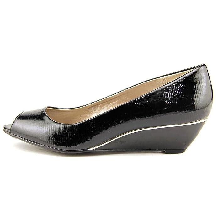 e8a453977e Amazon.com: Alfani Cammi Women US 6.5 Black Peep Toe Wedge Heel: Toys &  Games