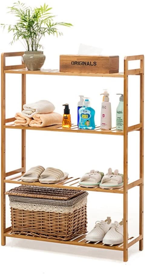 4-Tier Standing Shelf Bathroom Wood Organization Storage Rack Standing Shelving Unit Living Room Bookcase Cube Kitchen Cabinet Bamboo Bookshelf Display Shelves Flower Rack (Size : 68x25x100 cm)