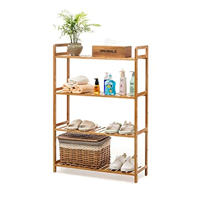 Amazon.com: Multilayer Standing Shelf Bathroom Wood Organization ...
