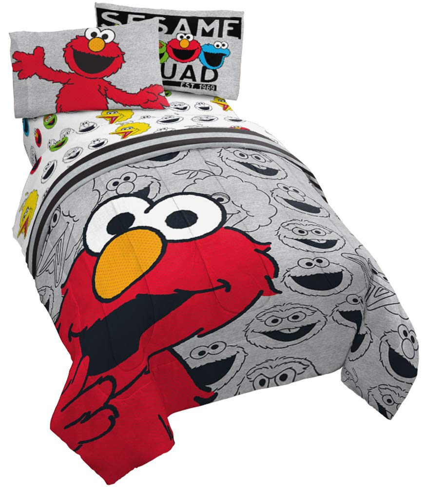 Jay Franco Sesame Street Hip Elmo 4 Piece Twin Bed Set - Includes Reversible Comforter & Sheet Set - Super Soft Fade Resistant Polyester - (Official Product)