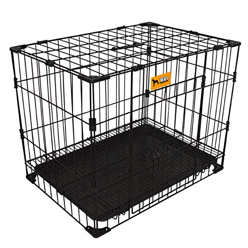 Paw Essentials MWG-C223 24in Reinforced Bold Folding Metal Dog Crate w/ Divider (Black) Paw Essentials