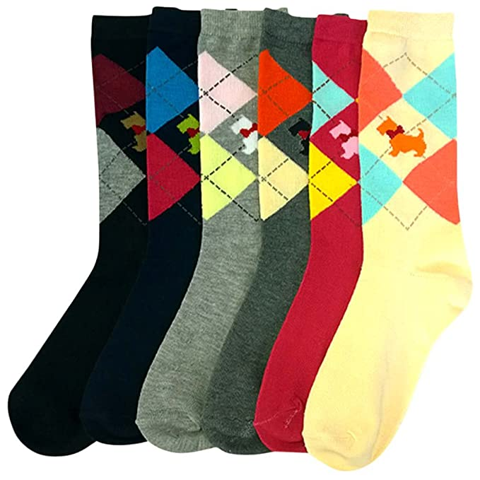 1920s Style Stockings & Socks Luxury Divas Scottish Terrier & Argyle Print Colorful 6 Pack Ladies Crew Socks $16.99 AT vintagedancer.com