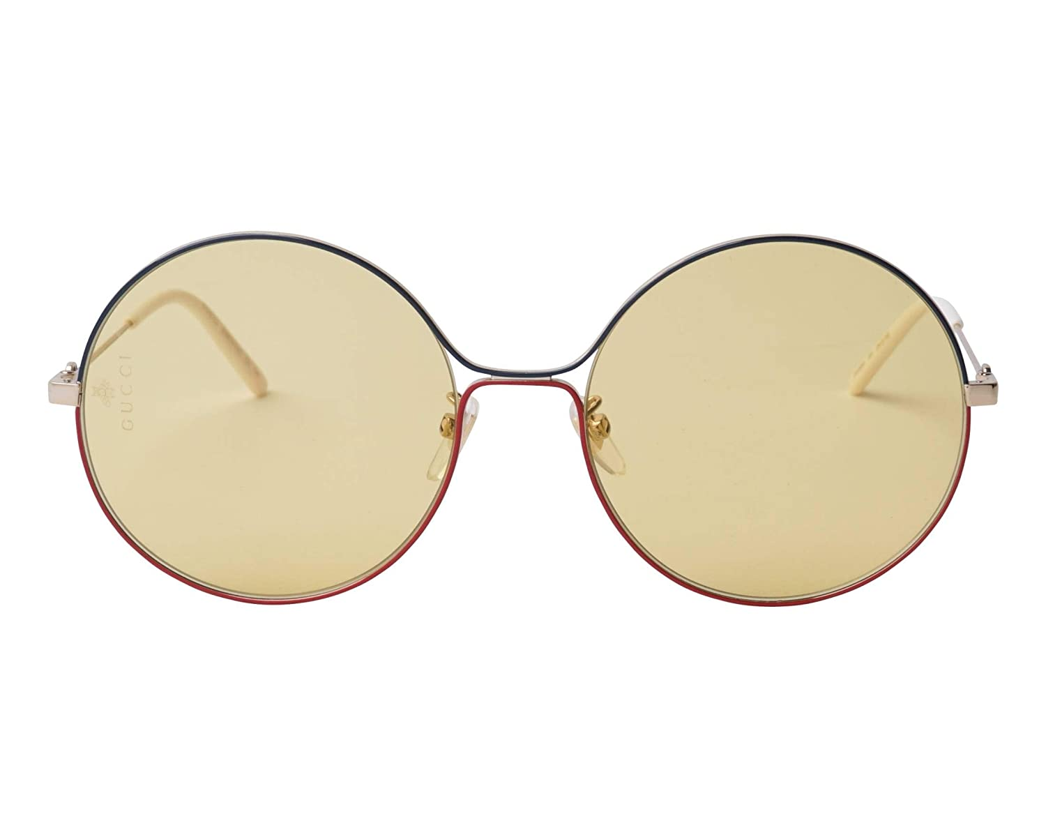aea760a050e Amazon.com  Gucci GG 0395S 005 Green Red Gold Metal Round Sunglasses Light  Brown Lens  Clothing