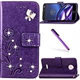 Moto Z Force Case LEECOCO Bling Crystal Diamonds Lucky Clover Floral with Card/Cash Slots Flip Kicktand PU Leather Wallet Slim Case Cover for Motorola Moto Z Force Droid Diamond Clover Purple
