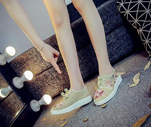 Broderie Femmes Vintage Mocassin Décontractée Style Chaussures Chinois Marche Lazutom Crème De Dame YqYar6w