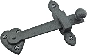 Renovator's Supply Wrought Iron Heart Gate Latch Medium to Light Duty Includes Antique Style Slotted Pyramid Head Screws As Optional Hardware 4 Inches Height X 6 3/8 Inches Length
