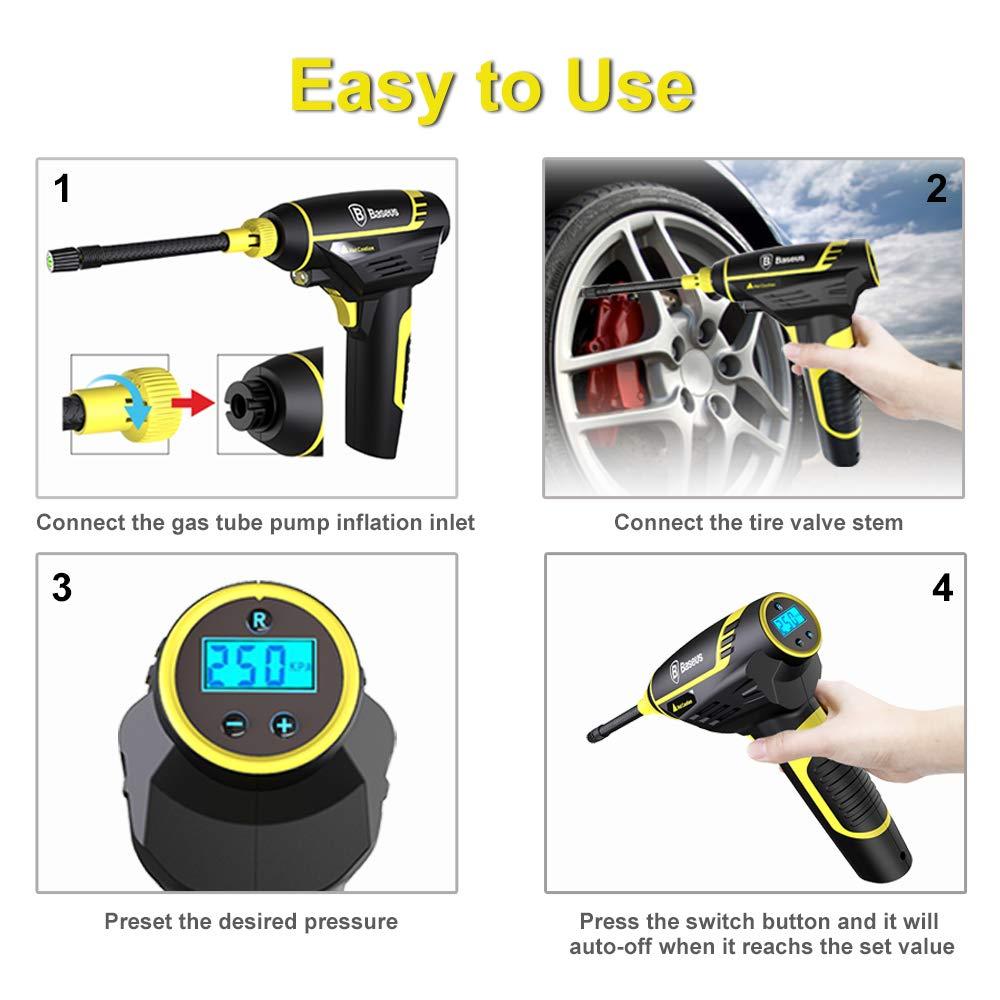 4 Adapter f/ür Auto Akku Luftkompressor Auto Luftpumpe Elektrisch mit Digital Manometer Fahrrad und Aufblasbare B/älle