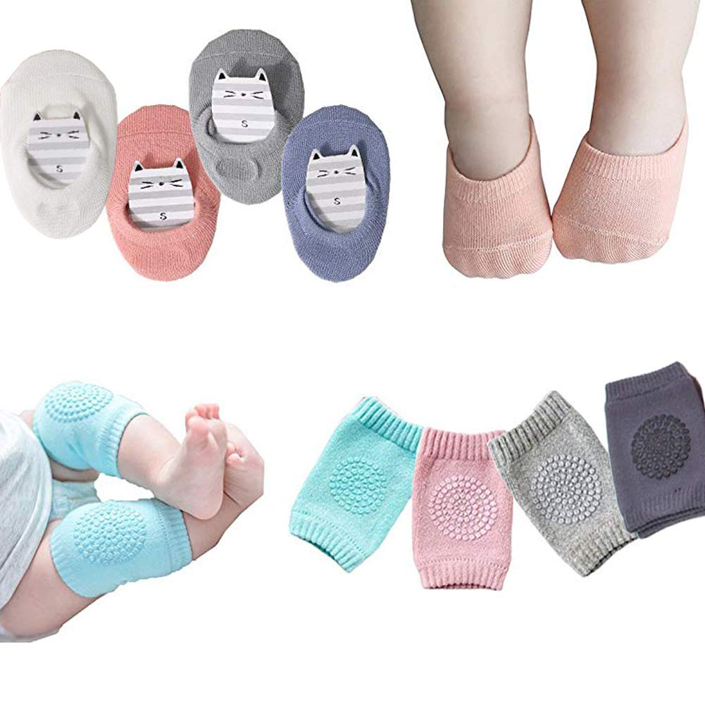 Baby Crawling Anti Slip Knee and Anti Slip Socks, Unisex Baby Toddlers 4 Pairs(Multiple colors, Large)