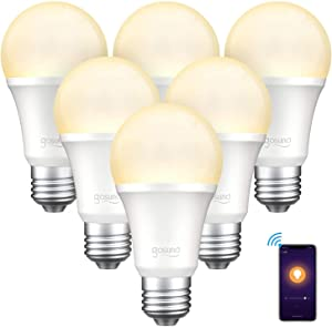Smart Light Bulb, Gosund Dimmable WiFi LED Light Bulbs Works with Alexa Google Home Siri, E26 A19 8W Warm White 2700K Dimming Bulb, 6 Pack