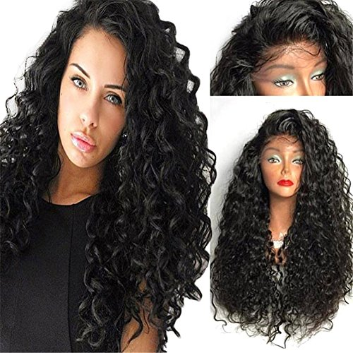 [Chanecci Women's Synthetic Fiber Hair Natural Looking, Long Deep Curly Lace Front Full Wigs with Wig Cap and Gifts, 26 Inches - Deep] (Curly Wigs For Black Hair)