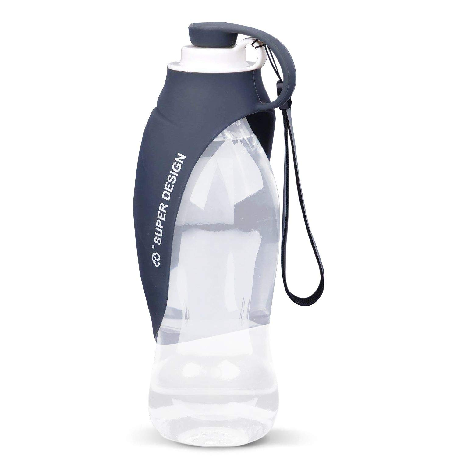SpeedRobot Portable Dog Water Bottle for Walking - Fashion Antibacterial Leak Proof Food Grade Silicone Dog Travel Water Bottle with Bowl Dispenser Outdoor - 20 Oz (Grey) by SpeedRobot