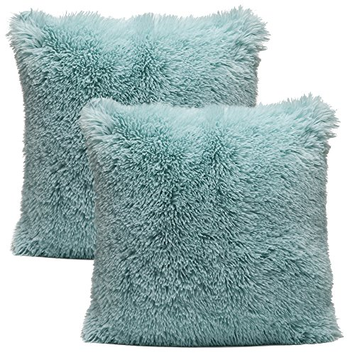 Aqua Blue Fur (Chanasya Super Soft Long Shaggy Chic Fuzzy Faux Fur Warm Elegent Cozy Aqua Blue Throw Pillow Cover Pillow Sham - Solid Turquoise Fur Throw Pillowcase 18x18 Inches 2-Pack(Pillow Insert Not Included))