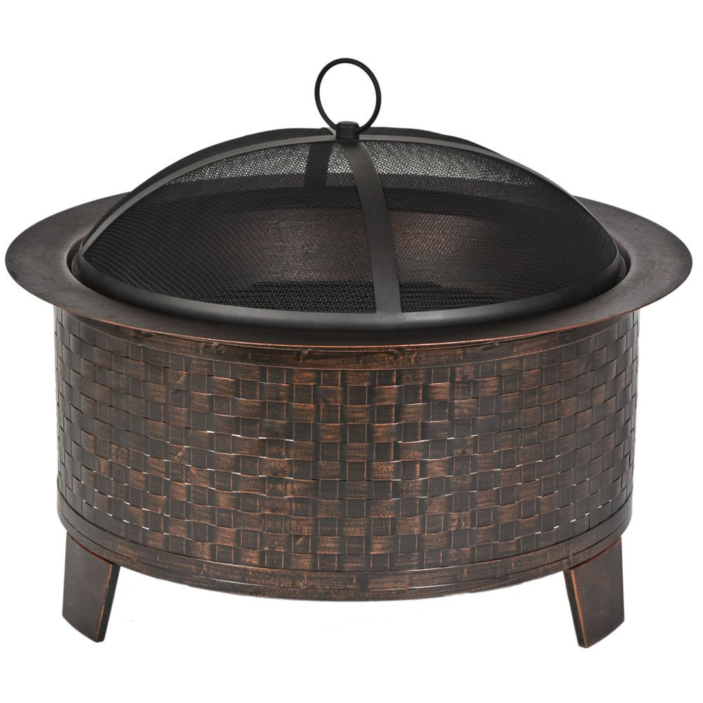 Amazon.com : Cobraco Woven Base Cast Iron Fire Pit FBCIWOVEN BZ : Patio,  Lawn U0026 Garden