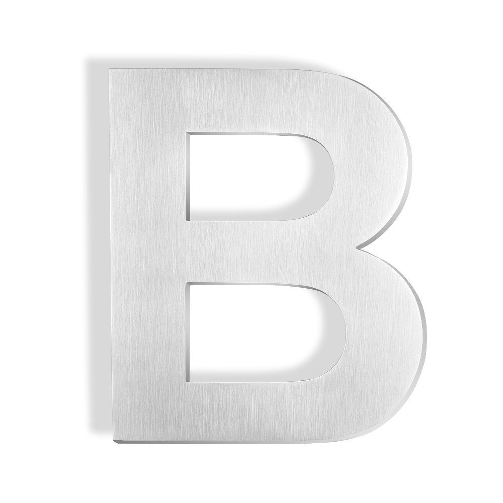 Mellewell 6 inches Stand-Off Address Letters Sign House Letter B Brushed Nickel, Made of Stainless Steel 304, HN06-B