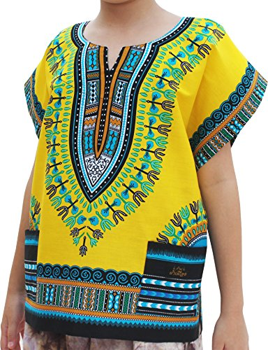 Raan Pah Muang Childs Unisex African Dashiki Kaftan Shirt - XS to L, 6-8 Years, Light Yellow