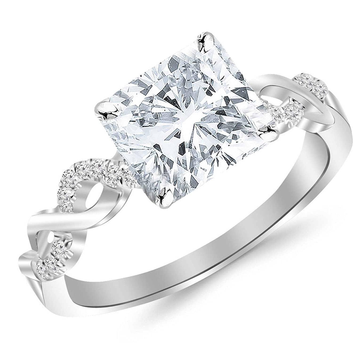 0.85 Cttw 14K White Gold Cushion Cut Twisting Infinity Gold and Diamond Split Shank Pave Set Diamond Engagement Ring with a 0.72 Carat I-J Color VS1-VS2 Clarity Center