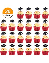 Hestya Total 30 Pieces Graduation Cake Topper Cupcakes Cap Decoration, Black