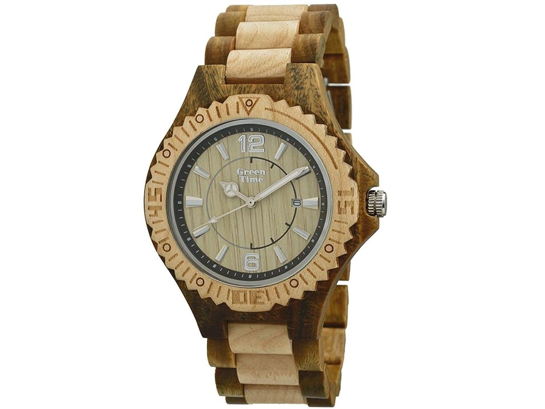 Greentime Armbanduhr aus Holz Sandelholz und Ahorn zw057e