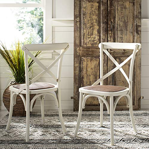Safavieh American Homes Collection Franklin Farmhouse X-Back Antique White Side Chair (Set of 2)