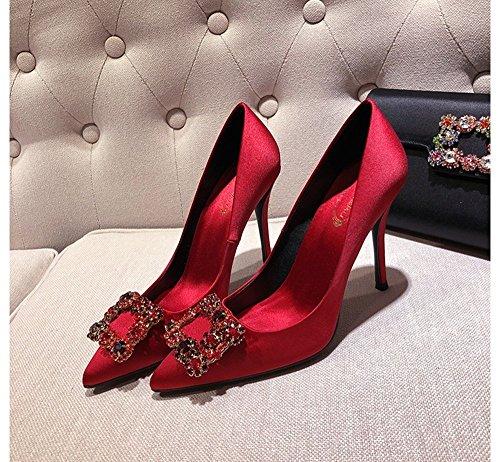 singles de talones cena 5cm femeninos rojo raso señaló salvajes 5cm boca 8 hebilla Red6 GAIHU los superficial Tacones altos 6 5cm estrás Zapatos cuadrada p7wnP