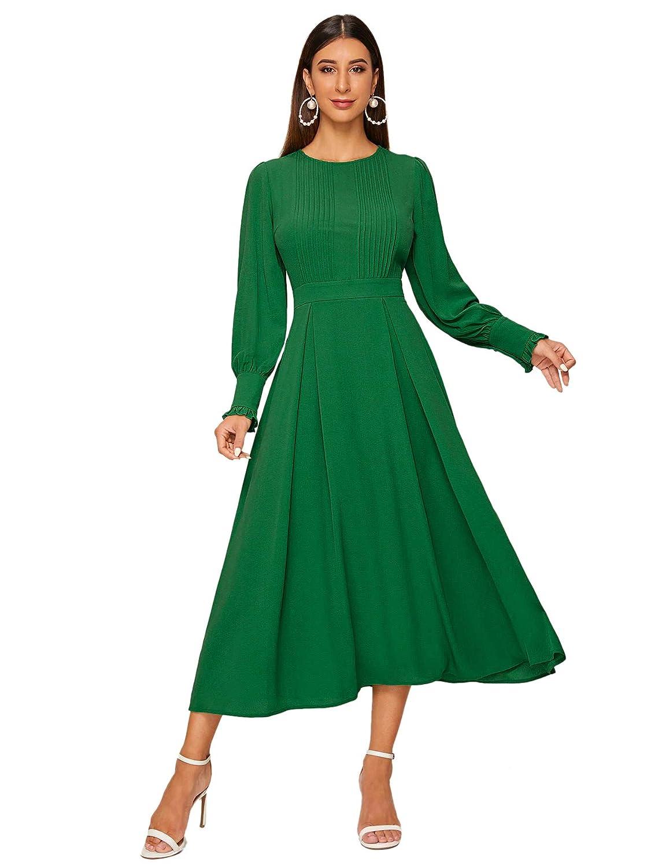 DIDK Damen Plissee Kleider Rundhals A Linie Faltenkleid Elegant Langarm Midi Kleid mit Reißverschluss