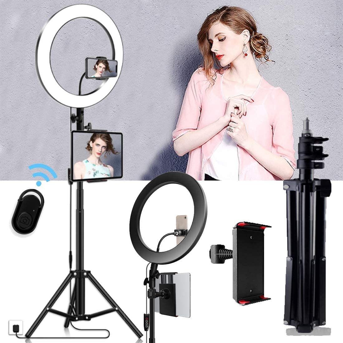 DLMPT LED Ring Light Lighting Kit with Adjustable Tripod Stand 3 Colors 10 inches Ringlight Make Up Light for Vlogs Live Stream Phone YouTube