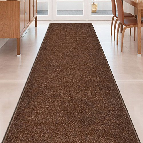 (Kapaqua Brown Solid Plain Rubber Backed Non-Slip Hallway Stair Kitchen Runner Rug Carpet 31in X 10ft)