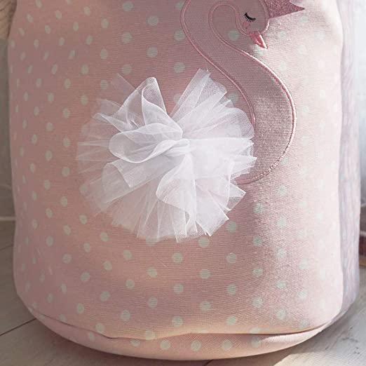 Znvmi Nursery Toys Storage Basket Thicken Fabric Laundry Hamper Large Folding Washing Bin for Kids Girls Baby Swan//Pink