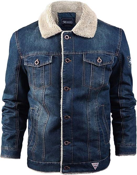 メンズデニムジャケット秋冬暖かい毛皮の襟綿コートポケットボタン長袖生き抜くトップス