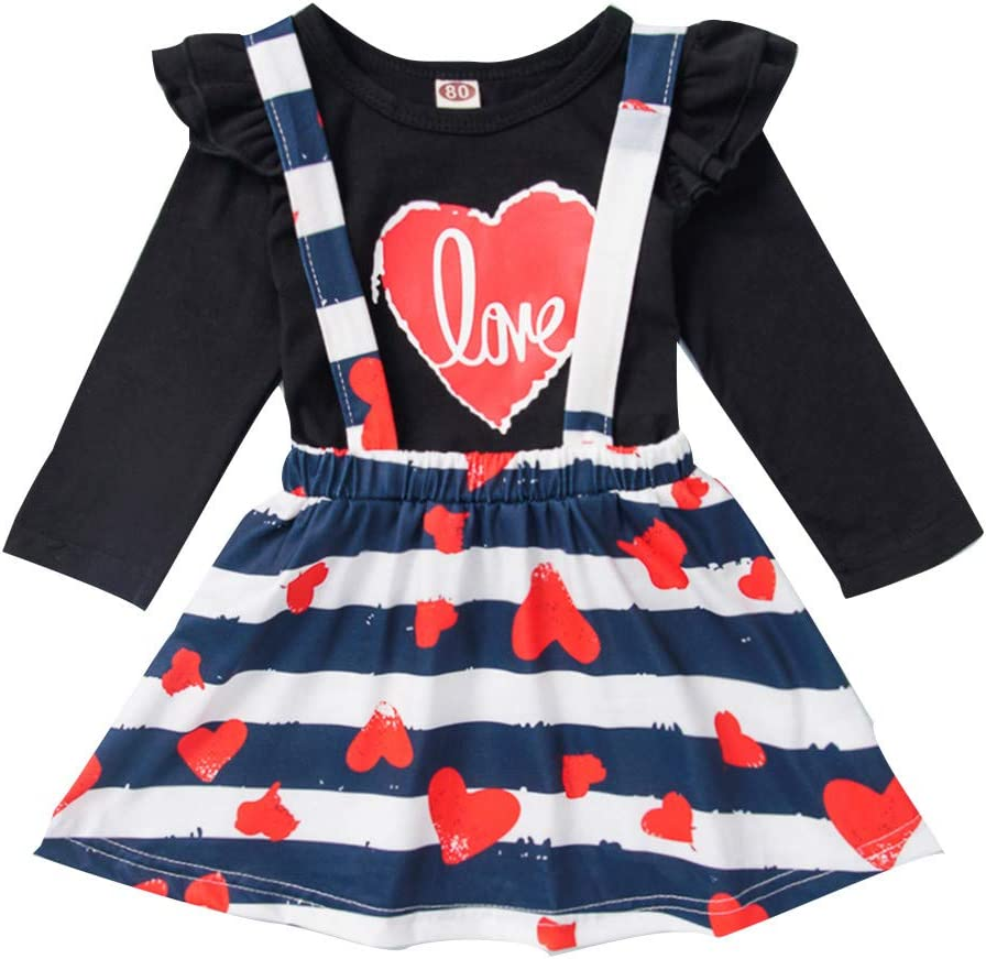 EDC/_Baby Jumpsuit EDC Toddler Kid Baby Girl Outfits Set Heart Print Romper Tops Striped Skirt with Suspend Outfits