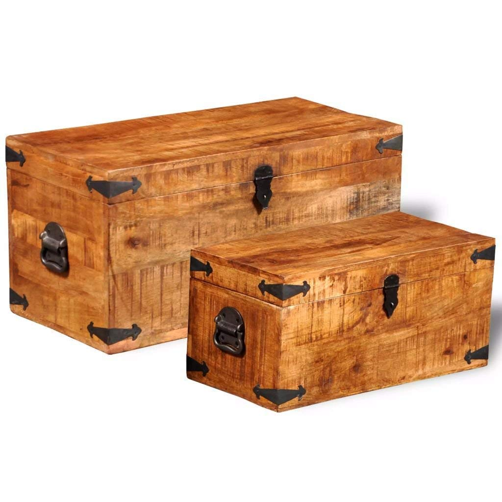 Handmade Solid Wood Storage Chest Set 2 Pieces Vintage Industrial Storage Boxes Mango Wood Blanket Toy Storage Chests Boxes Trunks Home Decor Mango Wood with Wax Coated Finish Antique Furniture