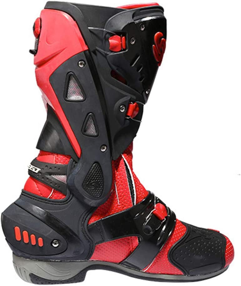 NHX Herren Motorradstiefel Sport Leder Schutz Motocross On-Road-Boot Crash-Schutz Lange Kn/öchel Schuhe Radfahren Sicherheitsstiefel,Black-40