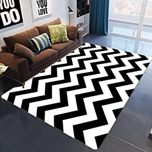 KFEKDT Modern Black and White Wave Abstract Art Carpet Living Room Table Kids Bedroom Sofa Nordic Home Decorative A4 80x180cm