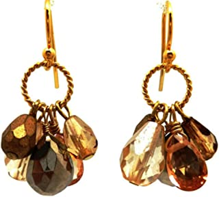 product image for A. V. Max NYC Goldtone Multi Colored Semi Crystal Cluster Drop Dangle Earrings