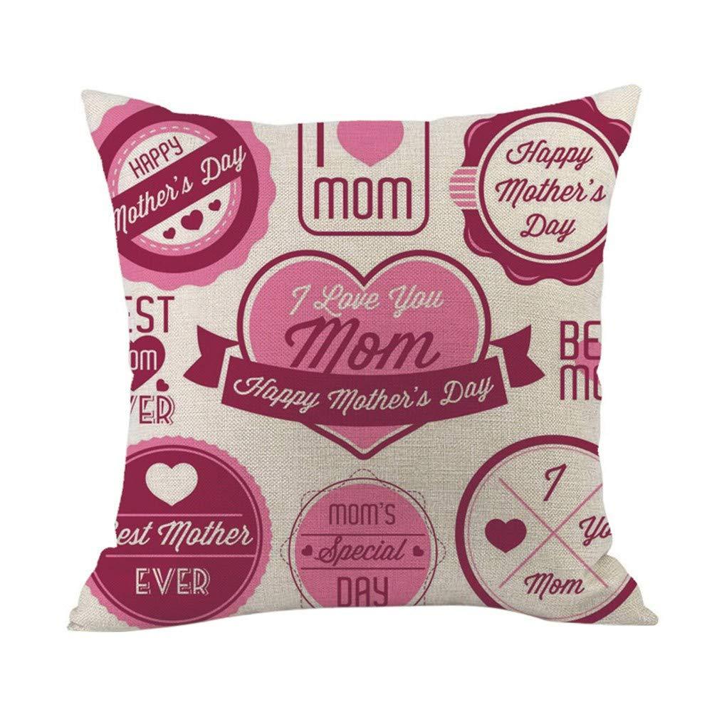 2019 EOWEO Happy Mothers' Day Sofa Bed Home Decoration Festival Pillow Case Cushion Cover(45cm×45cm,Multicolor-J)
