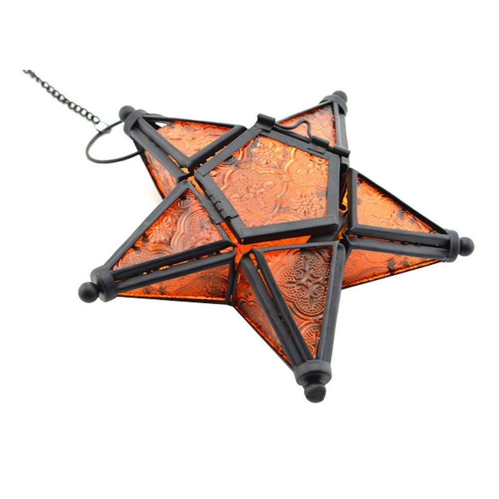 Steellwingsf Portavelas de cristal colorido para colgar, diseño de estrella de cinco puntas, azul, talla única