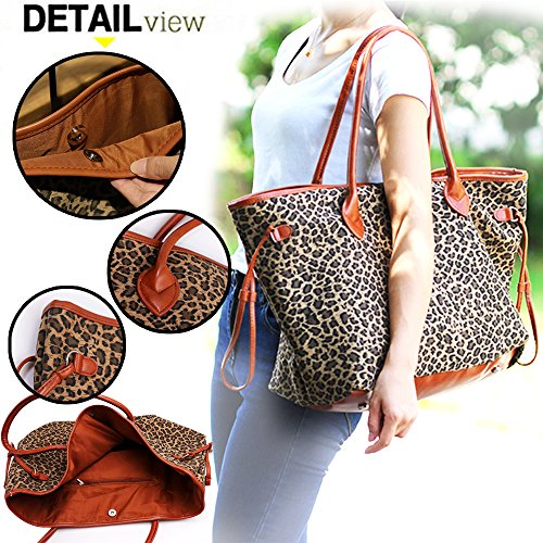 PU Patchwork Handbag Short-fur Velour Cheetah Shell Bag Leopard Shoulder Bag Light Brown