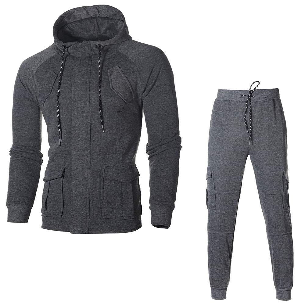 Men's Full Zip Tracksuit Set Casual Track Hooded Jacket Pants Jogging Athletic Sweatsuits Warm Activewear Winsummer