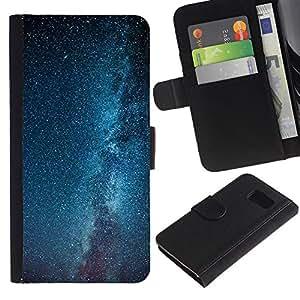 [Neutron-Star] Modelo colorido cuero de la carpeta del tirón del caso cubierta piel Holster Funda protecció Para Samsung Galaxy S6 [Vía Láctea Estrellas Cielo Azul]