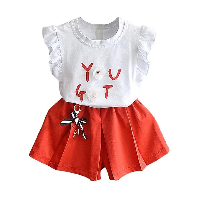 Hongyuangl Niñas Camiseta sin Mangas de la Flor del Verano Blusa Tops + Pantalones Cortos Trajes Blanco + Amarillo: Amazon.es: Ropa y accesorios