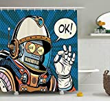 KANATSIU Futuristic Comics Super Heros Like Robot in a Spacesuit Artwork Shower Curtain 12 plactic Hooks,100% Made Polyester,Mildew Resistant & Machine Washable,Width x Height is 72X72