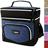 OPUX Insulated Dual Compartment Lunch Bag for Men, Women | Double Deck Reusable Lunch Tote Cooler Bag with Shoulder Strap, Soft Leakproof Liner | Medium Lunch Box for Work, Office (Heather Navy)