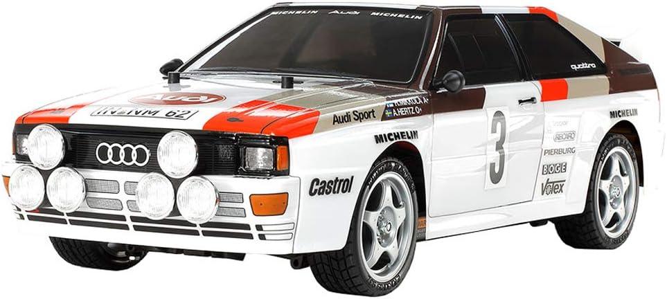 Tamiya 58667 58667-1:10 RC Audi Quattro Rally A2 (TT-02), Coche teledirigido, modelismo, Kit de construcción, Hobby, Construir, Color Blanco