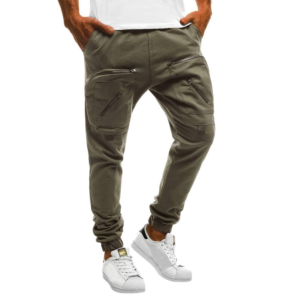 PASATO Men Sweatpants Slacks Casual Elastic Sport Zipper Baggy Pockets Trousers Pant, Clearance Sale